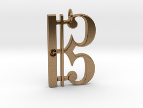 C Clef Pendant with «C» in Natural Brass