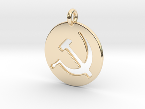 Hammer and Sickle USSR medallion in 14k Gold Plated Brass