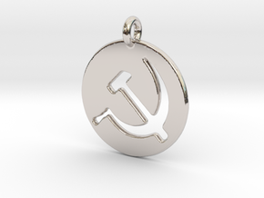 Hammer and Sickle USSR medallion in Rhodium Plated Brass