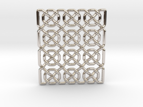 0514 Celtic Knotting - Ibain Grid [p49] in Rhodium Plated Brass