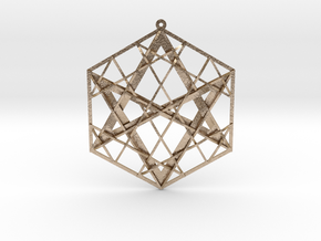 "Hexagrammaton Pendant 3"" in Polished Gold Steel"