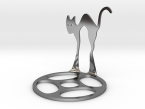 Icelandic Christmas Cat Tealight in Fine Detail Polished Silver