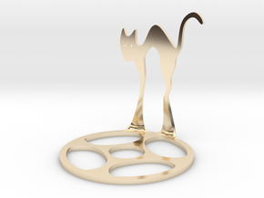Icelandic Christmas Cat Tealight in 14k Gold Plated Brass