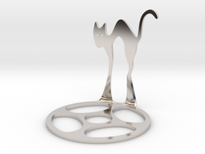 Icelandic Christmas Cat Tealight in Rhodium Plated Brass