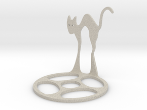 Icelandic Christmas Cat Tealight in Natural Sandstone
