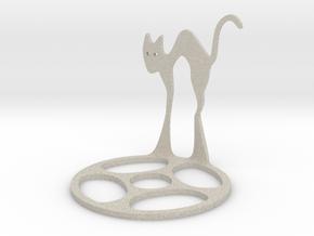 Icelandic Christmas Cat Tealight in Natural Sandstone