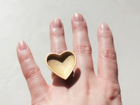 Curved Heart Ring - Metal  in Polished Gold Steel: 6 / 51.5
