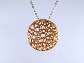 Bio Cell Pendant in Polished Gold Steel