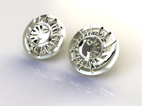 Sun and the moon detailed earrings JD8E in Polished Silver