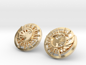 Sun and the moon detailed earrings JD8E in 14K Yellow Gold