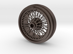 1/8 Wire Wheel Front, with 72 spokes in Polished Bronzed Silver Steel