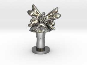 Fairy on Toadstool in Fine Detail Polished Silver