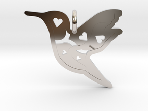 Pendant 'Bird' in Rhodium Plated Brass