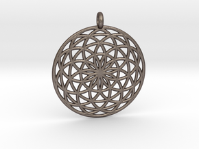 Flower of Life - Pendant 3 in Polished Bronzed Silver Steel