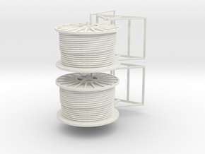1/50th Pair of Cable Reel Spools on mounts in White Natural Versatile Plastic