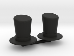 Top Hat Boardgame Counters (x2) in Black Natural Versatile Plastic