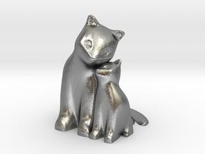 Cuddling Kittens in Natural Silver