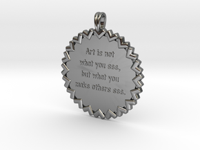 Art is not what you see | Jewelry Quote Necklace in Fine Detail Polished Silver