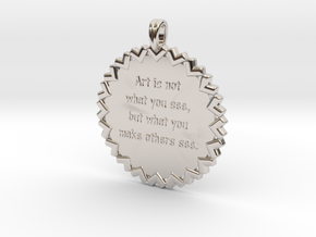 Art is not what you see | Jewelry Quote Necklace in Rhodium Plated Brass