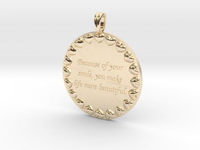 Because Of Your Smile | Jewelry Quote Necklace. in 14K Yellow Gold