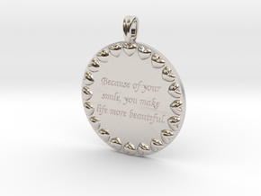 Because Of Your Smile | Jewelry Quote Necklace. in Rhodium Plated Brass