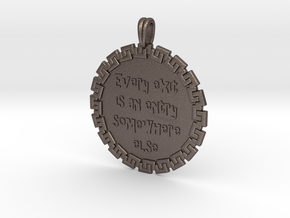 Every Exit   Jewelry Quote Necklace. in Polished Bronzed Silver Steel