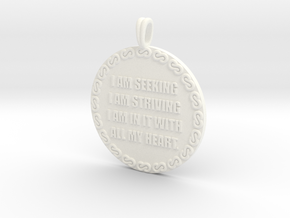 I AM SEEKING I AM STRIVING | Quote Necklace in White Processed Versatile Plastic