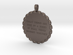 Great Things Are Done | Jewelry Quote Necklace. in Polished Bronzed Silver Steel