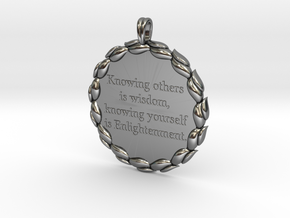 Knowing Others Is Wisdom | Jewelry Quote Necklace. in Fine Detail Polished Silver