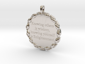 Knowing Others Is Wisdom | Jewelry Quote Necklace. in Platinum