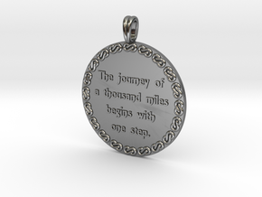 The Journey Of A Thousand | Jewelry Quote Necklace in Fine Detail Polished Silver