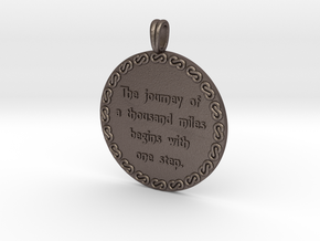 The Journey Of A Thousand | Jewelry Quote Necklace in Polished Bronzed Silver Steel