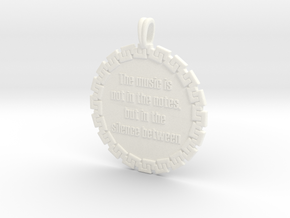 The Music Is Not In The | Jewelry Quote Necklace in White Processed Versatile Plastic
