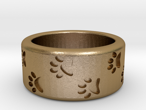 Cat Pawprints Ring in Polished Gold Steel