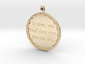 To Draw, You Must Close | Jewelry Quote Necklace. in 14k Gold Plated Brass