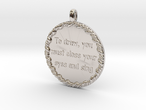 To Draw, You Must Close | Jewelry Quote Necklace. in Rhodium Plated Brass