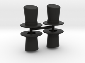 Top Hat Boardgame Counters (x4) in Black Natural Versatile Plastic