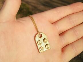 Heart Pendant (Lego Style) in Matte Gold Steel