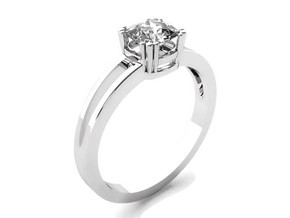 Solitaire Cushion Engagement Ring in 14k White Gold