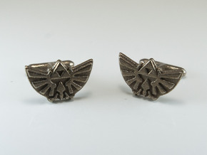 Legend of Zelda: Triforce Cufflinks in Polished Bronzed Silver Steel