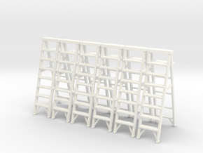 Stepladder 02.  O Scale  (1:43) in White Strong & Flexible Polished