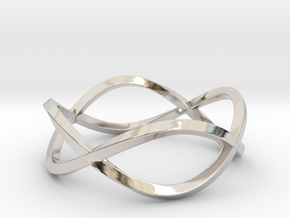 Size 6 Infinity Twist Ring in Rhodium Plated