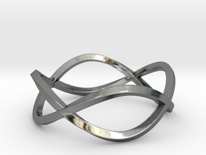 Size 7 Infinity Twist Ring in Fine Detail Polished Silver