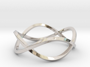 Size 8 Infinity Twist Ring in Rhodium Plated Brass