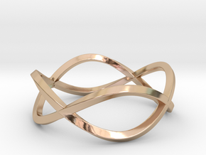 Size 10 Infinity Twist Ring in 14k Rose Gold Plated Brass