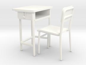 School desk 01. 1:24 Scale in White Processed Versatile Plastic