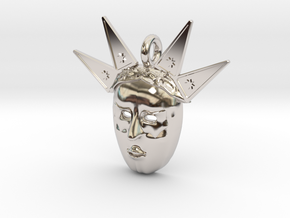 venetian carnival mask pendant in Rhodium Plated Brass
