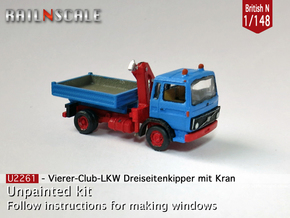 Club-of-4 Three-way side tipper (British N 1:148) in Smooth Fine Detail Plastic