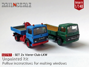 SET 2x Club-of-4 lorries (British N 1:148) in Smooth Fine Detail Plastic