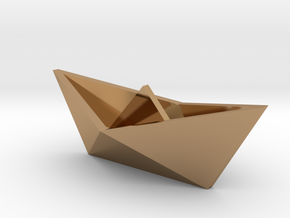 Classic Origami Boat in Polished Brass